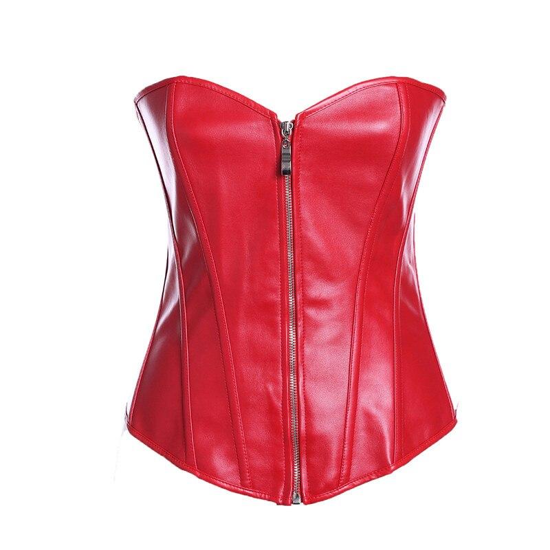 Black Faux Leather Corset Sexy Clubwear Bustier Hot Lingerie Zipper Plus Size Waist Cincher Top S-6XL Steampunk Red Gorset