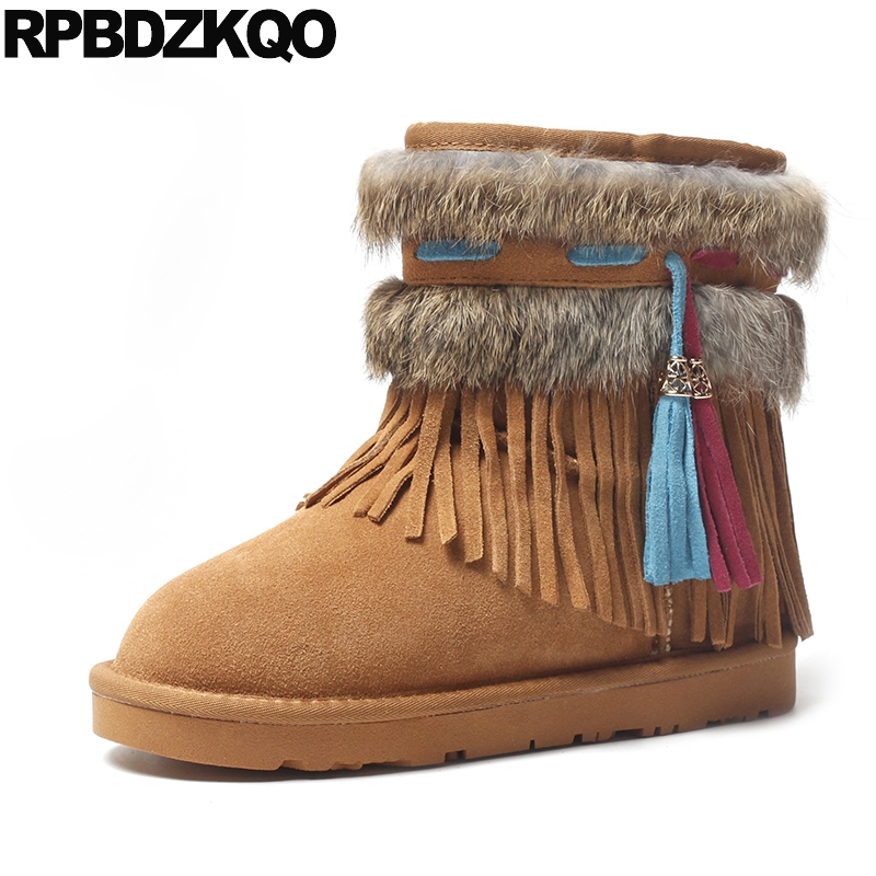 Fur Winter Snow Boots Women Ankle Slip On Flat Warm Fashion Shoes Fringe Real Yellow Chinese 2017 Short Female New Ladies odetina fashion genuine leather fringe short ankle suede snow boots for women wool fur lined winter warm shoes tassels slip on