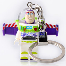 DR TONG 2017 New Super Heroes Handmade Buzz Lightyear Key Ring DIY Customize Keychains Building Blocks