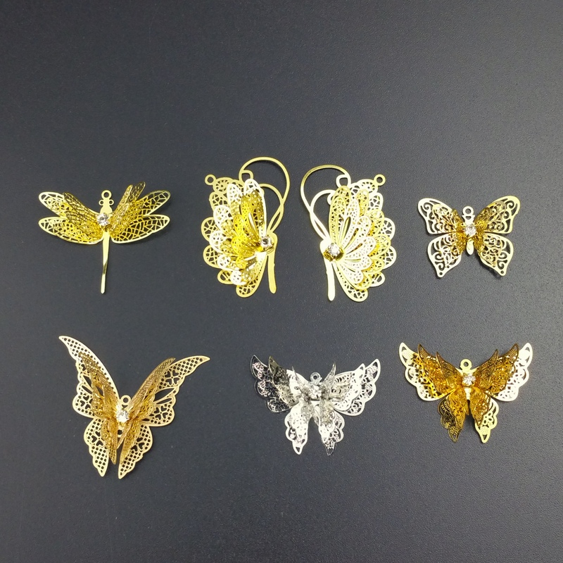 2pieces / lot brass color copper filigree butterfly Slice Charms base Setting Jewelry DIY Components Findings