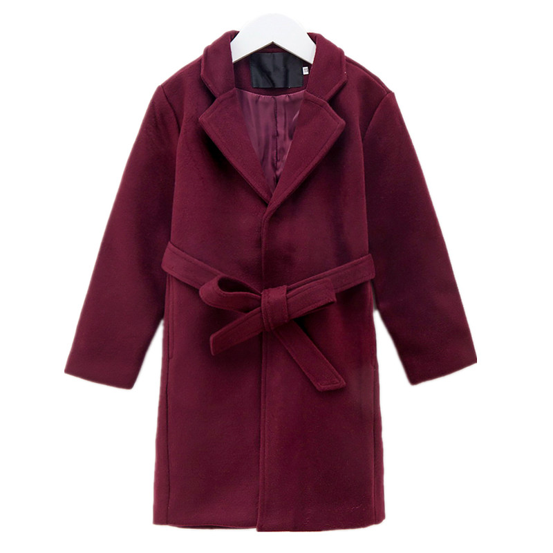 6 to 16 years kids & teenager girls wool blends belted v-neck long trench jacket & coat children fashion solid winter outerwear waist belted solid long coat