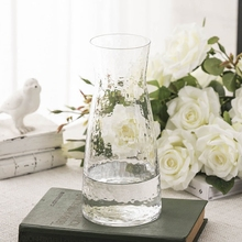 Japan Style Transparent Glass Vase Hammer Pattern Flower Tabletop Modern Creative Hydroponics Table