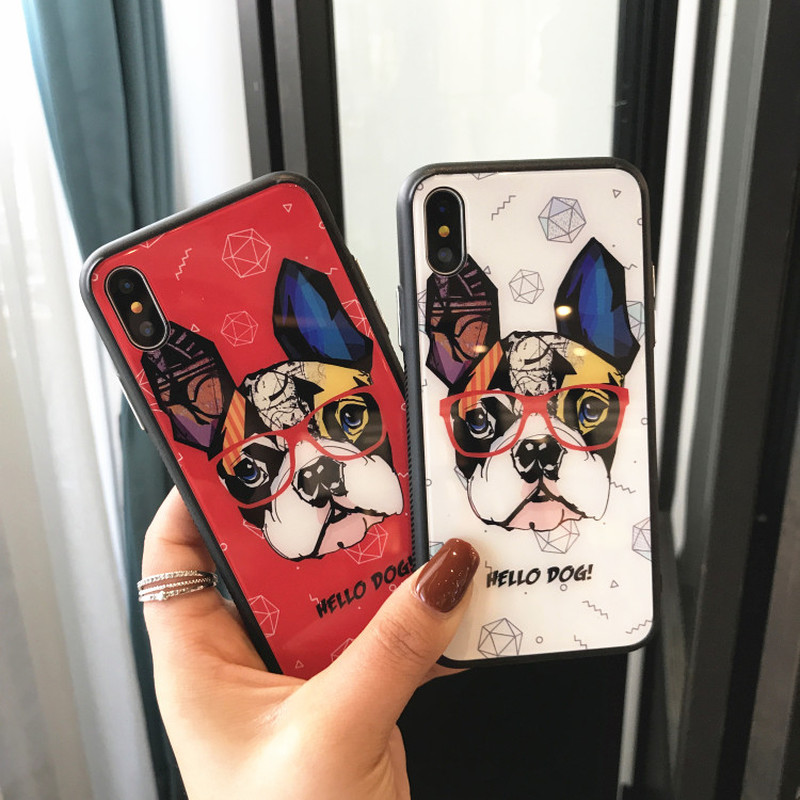 Tzomsze Phone Case For iPhone X Back Cover dog puppy French Bulldog For iPhone 6 7 8 6S Plus Cases Silicone Soft Edge+hard Glass