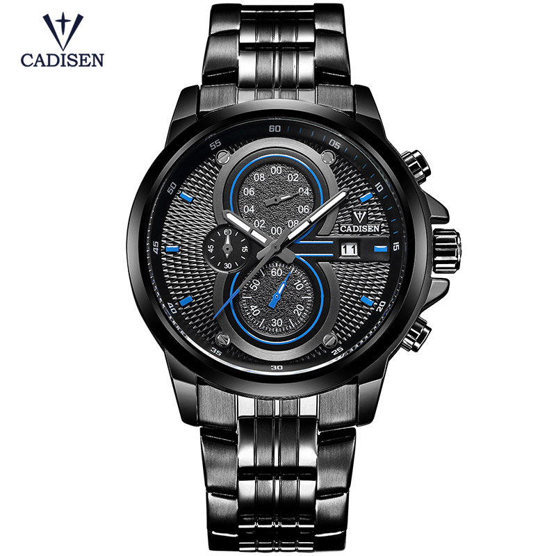 Cadisen New Mens Watch Sport Military Quartz Men Wristwatches Waterproof Stainless Steel Watch Box Relogio Masculino CS9054