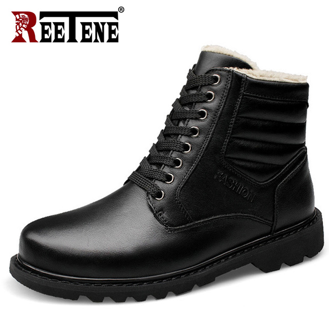 REETENE Genuine Leather Men Winter Shoes Handmade Men Winter Snow Boots Black Snow Boots Natural Leather Winter Boots 37-47