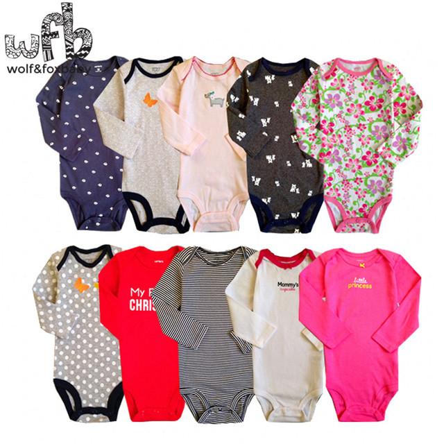 Varejo 5 unidades/pacote 0-2yrs longo-Sleeved bodysuits para meninos meninas macacões Roupas de Bebê dos desenhos animados Infantil 2014 novo frete grátis