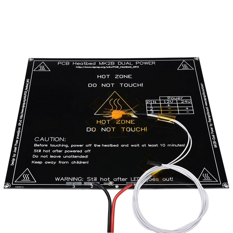 A impressora 3d parte 214*214*1.6mm mk2b aquecido sem/com diodo emissor de luz + resistor + cabel + 100 k ohm thermistors pwb cama aquecida com três cores