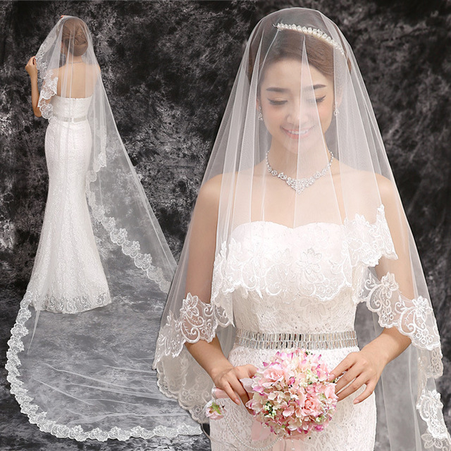 2017 New Wedding Veil Cathedral 3 Meter Long Lace Bridal Simple Vail America Net