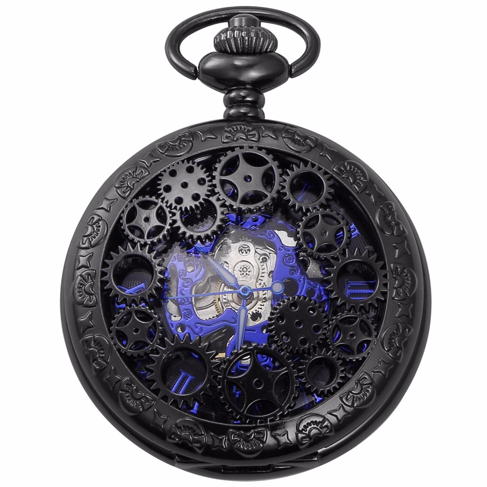 Fashion Blue Analog Hollow Case Men Mechanical Movement Pocket Watch With Long Chain Steampunk Hand Winding Clock Gift / WPK219 unique smooth case pocket watch mechanical automatic watches with pendant chain necklace men women gift relogio de bolso
