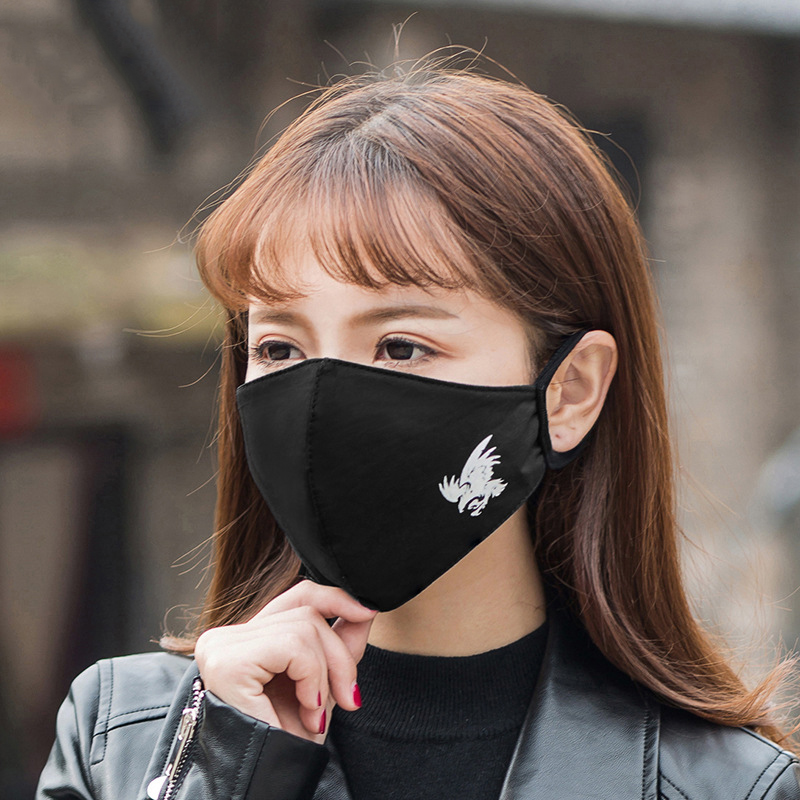 1Pcs Black Face Masks Breathable Crown Mouth Mask PM2.5 Fabric Noctilucent Mask Cycling Top Quality Cotton Maschera Donna M001