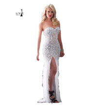 Luxury Crystals font b Evening b font font b dress b font feathers Sweetheart Beaded Side