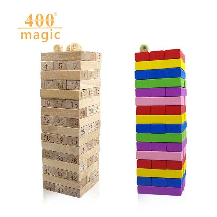 2017 New 48pcs/set Blocks Tumble <font><b>Jumble</b></font> Wooden Tower Building Blocks Folds High wood Toy 25.8*8.3*8.3cm