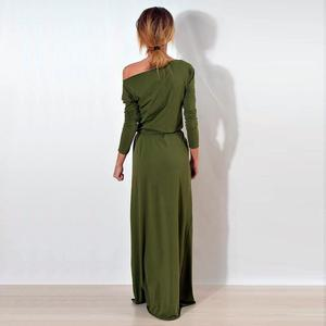 Женское вечернее платье макси на одно плечо с длинным рукавом, повседневные Длинные свободные платья, Femme Vestidos WS3744C
