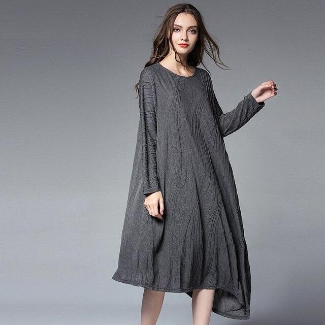 2017New Autumn Women jacquard loose Fit long Dress elegant