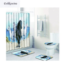 Free Shipping 4Pcs Cool Horse Group Banyo Bath Mats Set Anti Slip Bathroom  Tapete Banheiro Washable