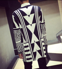 Mod Long Slim Fit Open Cardigan Top Black White New Men's Vogue Geometric Knit Sweater