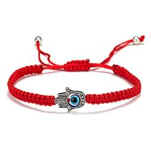 Hot Fashion Lucky Red Rope String Thread Bracelets Resin Blue Turkish Evil Eyes Palm Pendant Couples Bracelets Wholesale Gifts