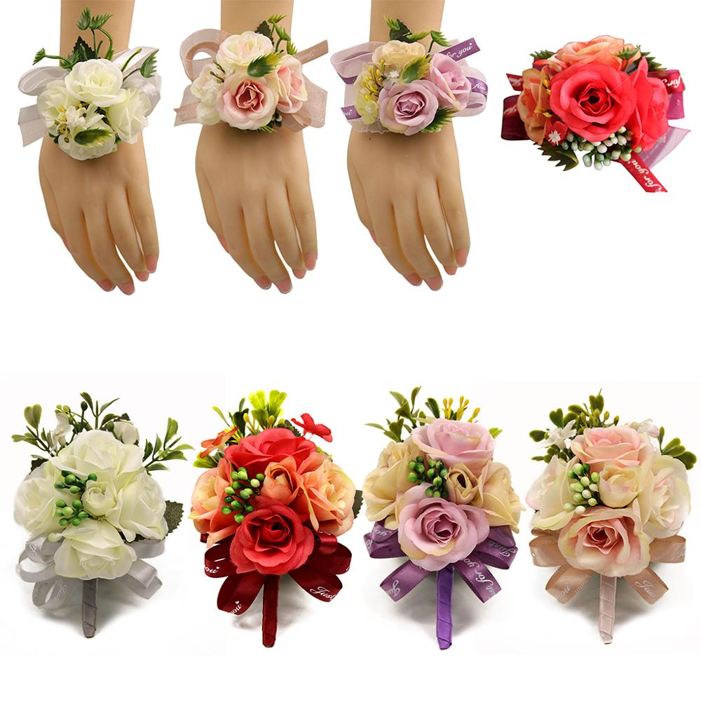 Wedding Prom Wrist Corsage Brooch Boutonniere Contrast Color Artificial Flower Berry Ribbon Bowknot Wristband Party Favors Decor