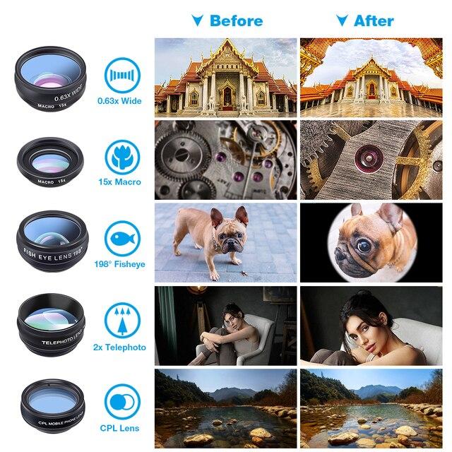 APEXEL Phone lens kit universal 10 in 1 Fisheye Wide Angle macro Lens CPL Filter Kaleidoscope+2X telescope Lens for smartphone 3