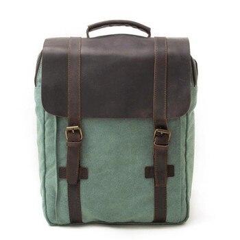 "YUPINXUAN Europe Fashion Pure Cotton Canvas Leather Backpacks 14"" Laptop Waterproof Daypacks Large Capacity Men Rucksacks Retro"
