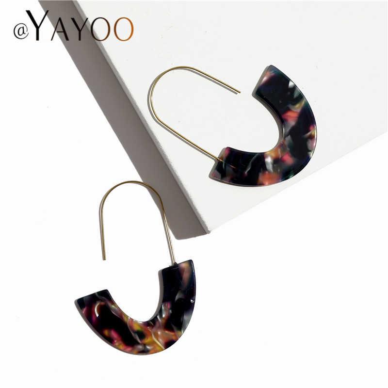 Fashion Resin Warna Emas Hoop Anting-Anting untuk Wanita 2019 Laporan Besar Geometris Acrylic Lingkaran Square Anting-Anting Wanita Perhiasan
