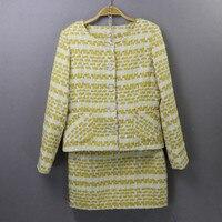 New 2018 Fall/winter ladies skirt suits Fashion plaid botton jackets coat+tweed mini skirts two piece set D237