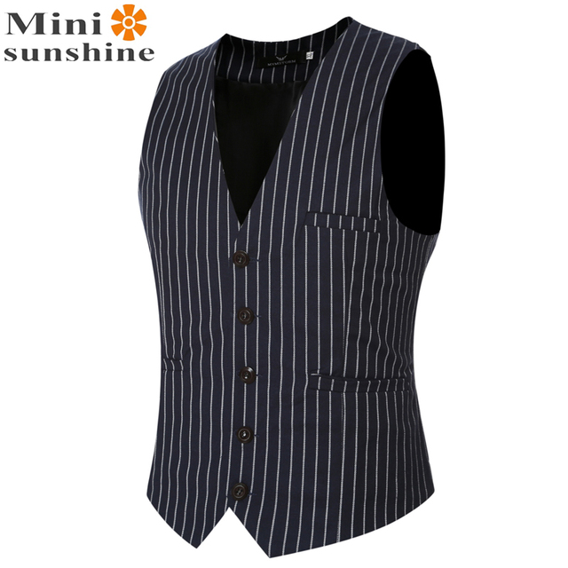 Formal Waistcoat for Men 2016 Men's Cardigan Vest Wedding Stripe Formal Designer Sleeveless Jackets V-neck Novelty Vests VS06