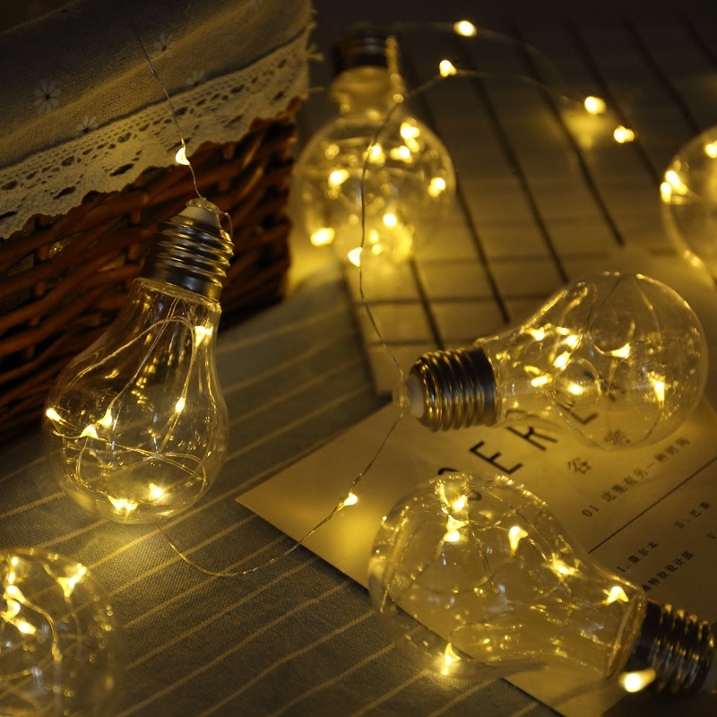 6x9cm Transparent Bulb Party Wedding LED String Light 3m 100Led Battery Holiday Decorative Lamp Garden Home Kid Children Gift