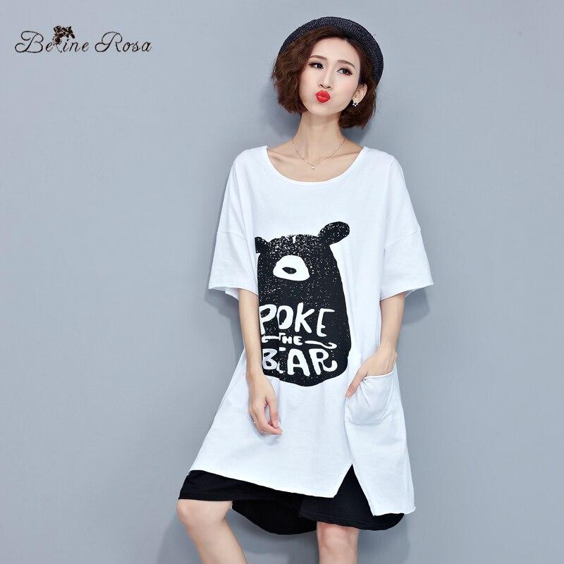 Belinerosa 2017 camisetas vestidos casual impresión del oso grande tamaños tyw02