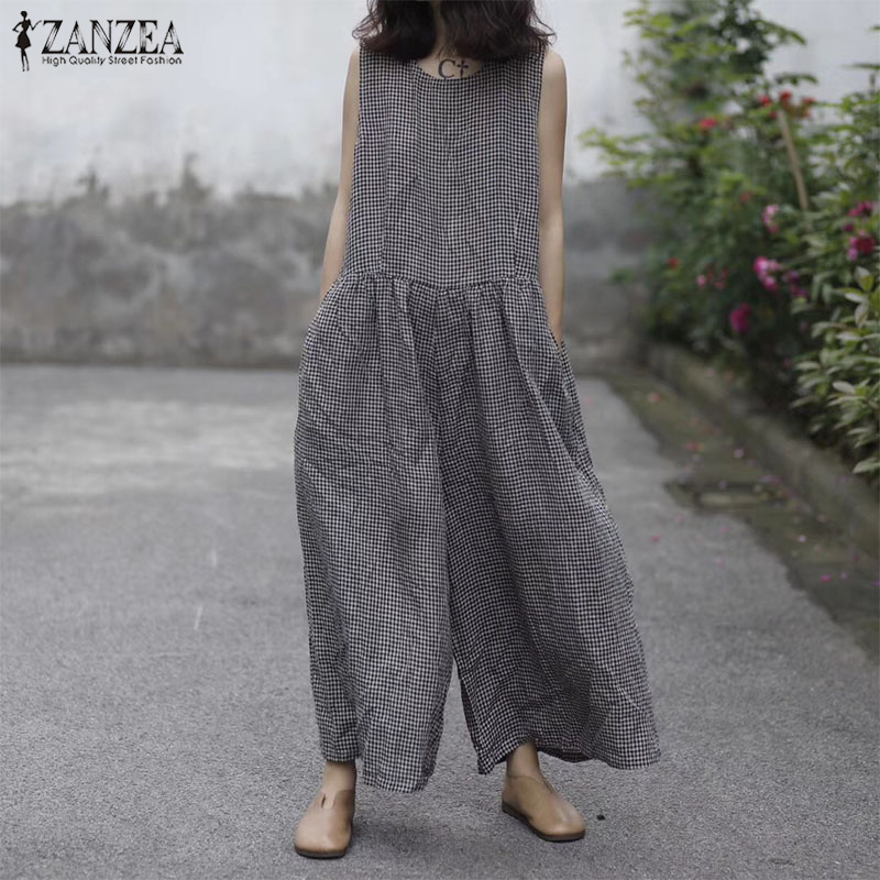 ZANZEA Women Cotton Linen Overalls Summer O Neck Sleeveless Plaid Check Loose Long   Jumpsuits   Plus Size Casual Wide Leg Rompers