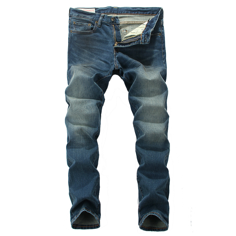 ФОТО Blue Color Denim Men Jeans Classic Stylish Simple Mens Pants Top Quality Slim Straight Fashion Street Man Clothing Elastic Jeans