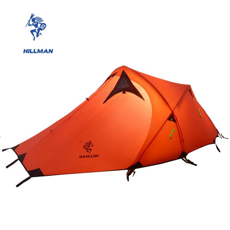 Hillman 2 Person Tent Double Layers One Living Room One Bedroom 20D Silicone Waterproof Ultralight Aluminum Rod Camping Tent in one person