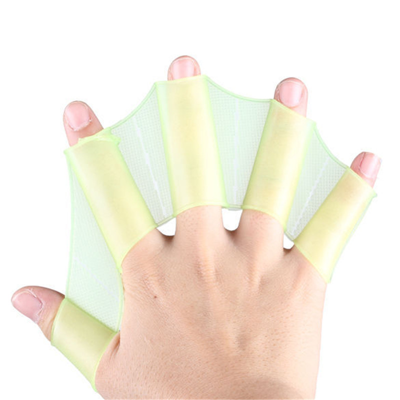 1 Pair Elasticity Swimming Silicone Hand Fins Flippers Palm Finger Webbed Gloves Half Finger Flippers Swim Training Equipment