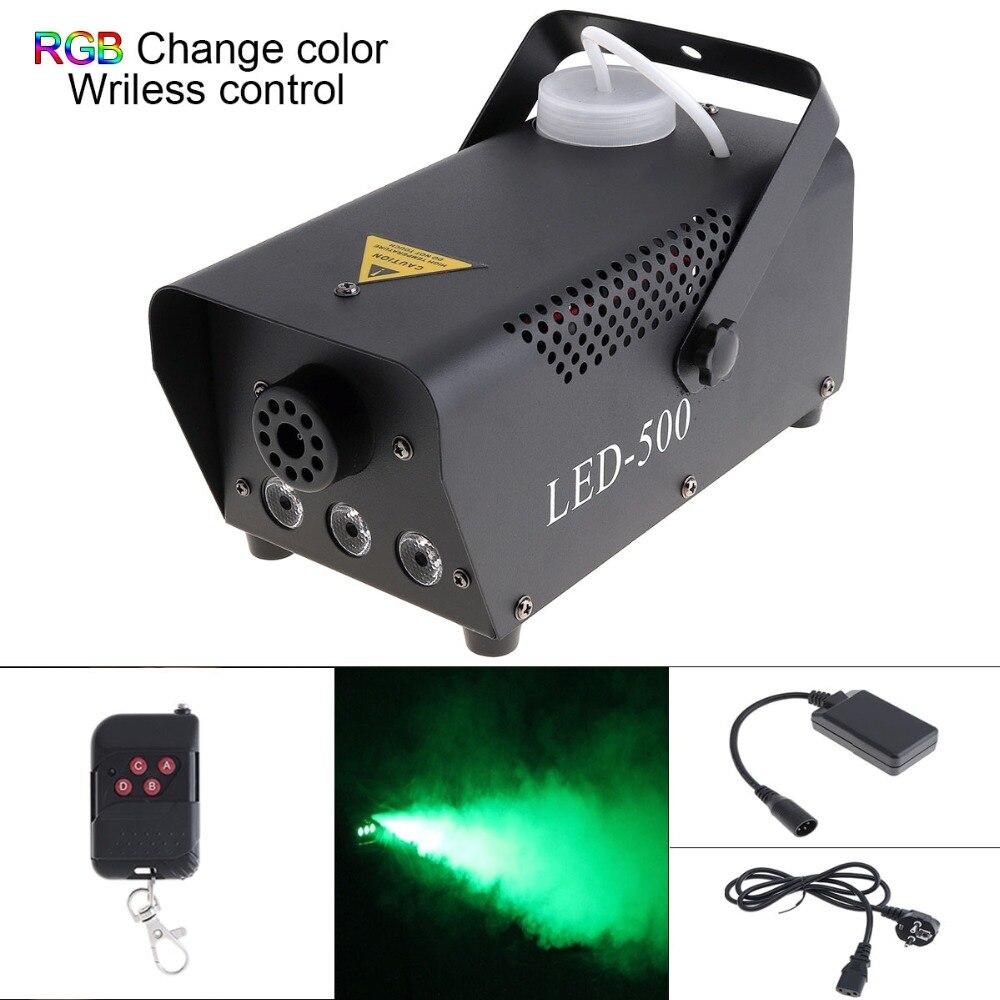 Wireless Remote Control LED 500W Fog Smoke Machine RGB Color Smoke ejector LED DJ Party Bar