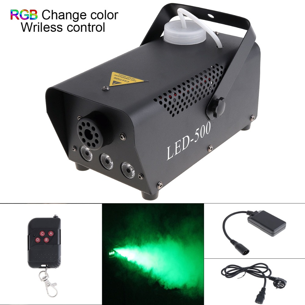 Wireless Remote Control LED 500W Fog Smoke Machine RGB Color Smoke Ejector LED DJ Party Bar Stage Light Smoke Thrower