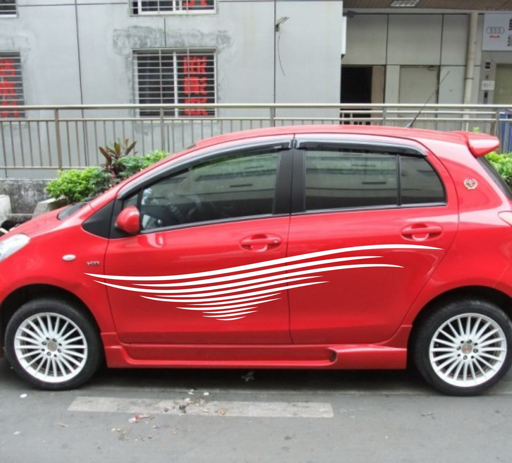 Car design sticker stripes - Car Vinyl Decal Dual Racing Stripes Side Stickers Body Decals Stripe For Yaris 914