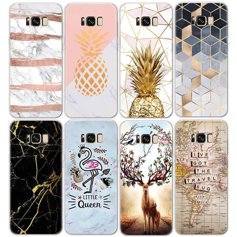 Pineapple-Cover Tpu Case Marble A50 S7 Edge A30 Note 8 Samsung Galaxy S10-Plus J7 Prime