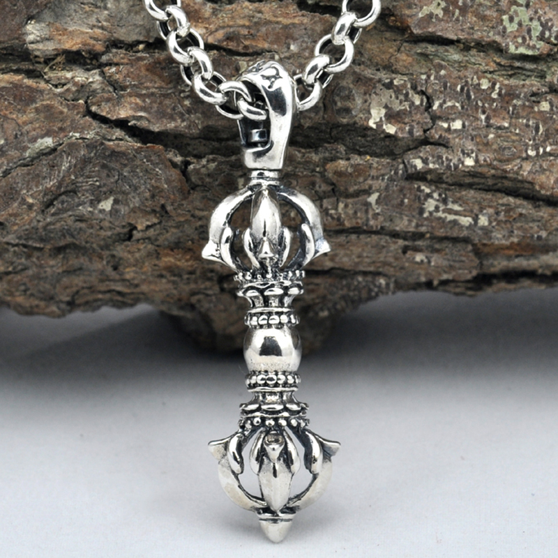 925 Sterling Silver Jewelry Necklace Pendant Retro Evil Vajra Pestle Jiangmo Avoid Evil Spirits Musical Instruments 925 sterling silver jewelry necklace pendant retro evil vajra pestle jiangmo avoid evil spirits musical instruments