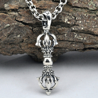925 Sterling Silver Jewelry Necklace Pendant Retro Evil Vajra Pestle Jiangmo Avoid Evil Spirits Musical Instruments