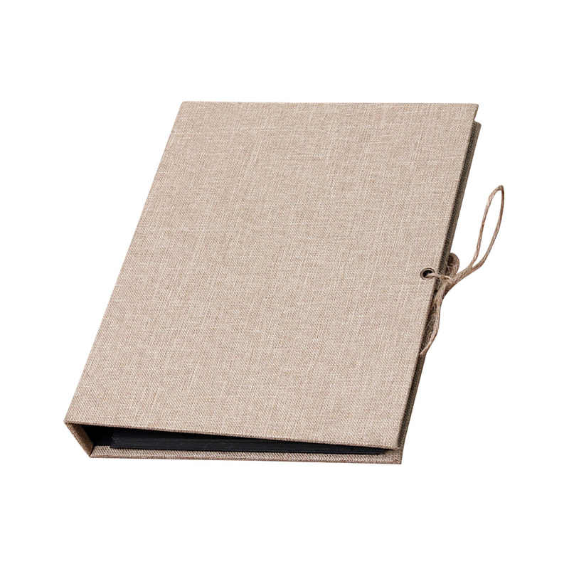 Creative Linen DIY Craft Card Scrapbook Simple Photo Albums Loose Leaf with Rope Strap Home Decor 30 Pages Picture Album(Brown)
