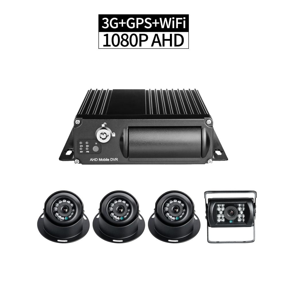 4CH 3G réseau AHD 1080 P carte SD voiture Mobile DVR Kits WIFI enregistreur en temps réel PC/téléphone moniteur à distance lecture GPS enregistrement g-sensor