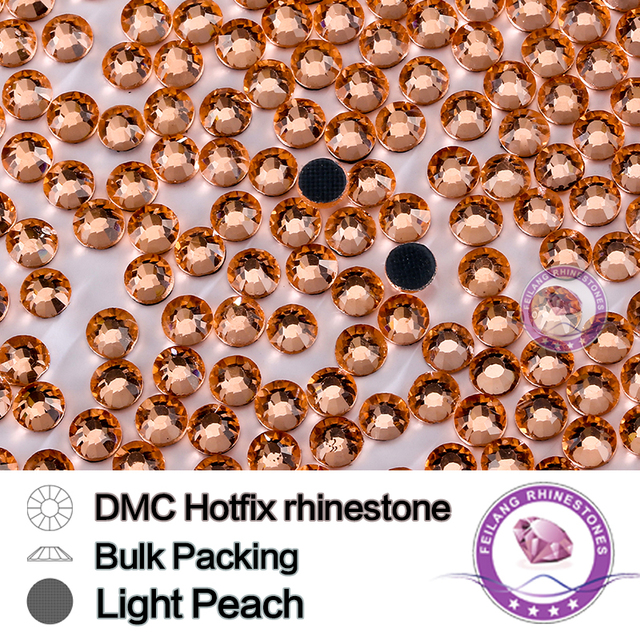 Light Peach Size SS6 SS10 SS16 SS20 SS30 Bulking Packing HotFix Rhinestone For Garments Bags And Shoes