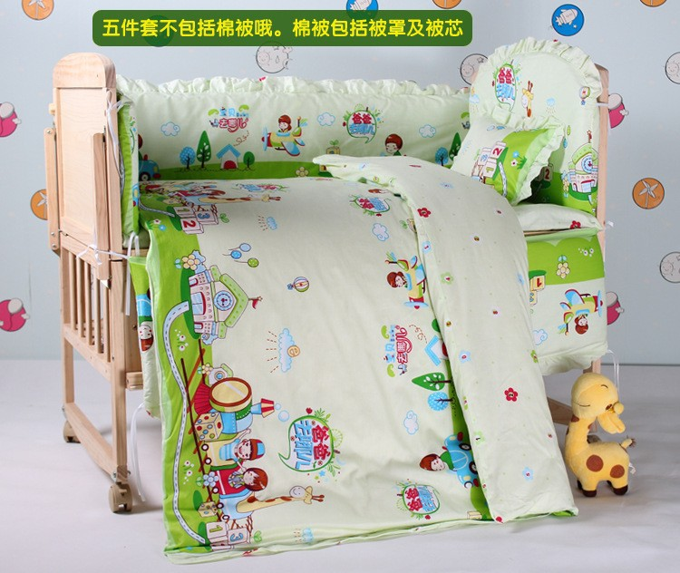 Promotion! 7pcs baby bedding set bed sheets bed linen (bumper+duvet+matress+pillow) fashion anchor printed square new composite linen blend pillow case