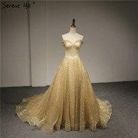 Luxus Gold Glitter Schatz Abendkleider 2018 Neue Ankunft Formale Kleid Party Kleider Robe De Soiree Ruhigen Hill Real Photo