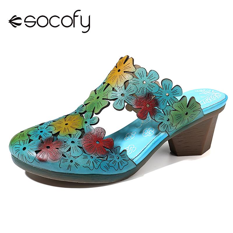 SOCOFY Hand Painted Sandals Flowers Pattern Genuine Leather Splicing Comfortable Slip On Sandals Elegant Summer Shoes Women 2020