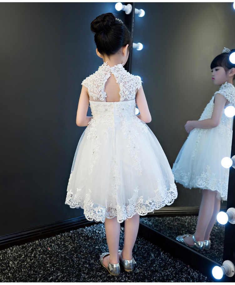 Элегантное свадебное платье с блестками для девочек; белые кружевные вечерние платья принцессы с высоким воротником для дня рождения; платье для первого причастия для девочек
