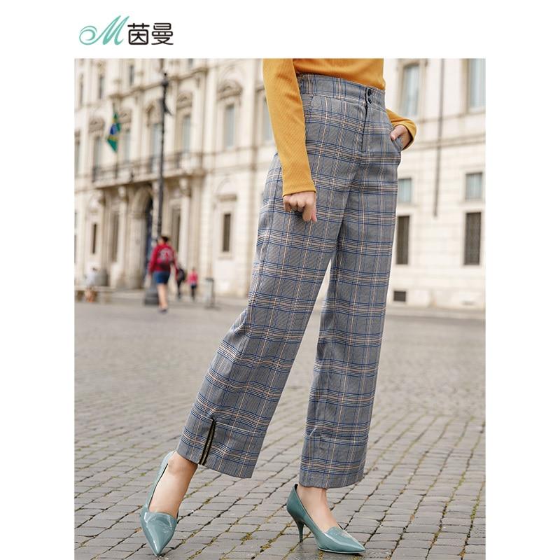 INMAN Retro Style Plaid Women Straight Style Women Causal Pants