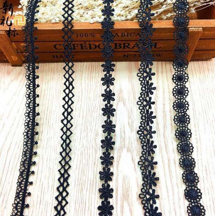 أسود شريطة من الدانتيل DIY خياطة الملابس الاكسسوارات اليدوية الزخارف الزفاف عيد ميلاد حزب القصاصات قلادة الديكور Wh