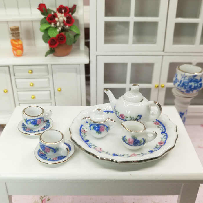 Free Shipping 1/12 Dollhouse Miniature Porcelain disc Tea set cups pot 8pcs delicacy