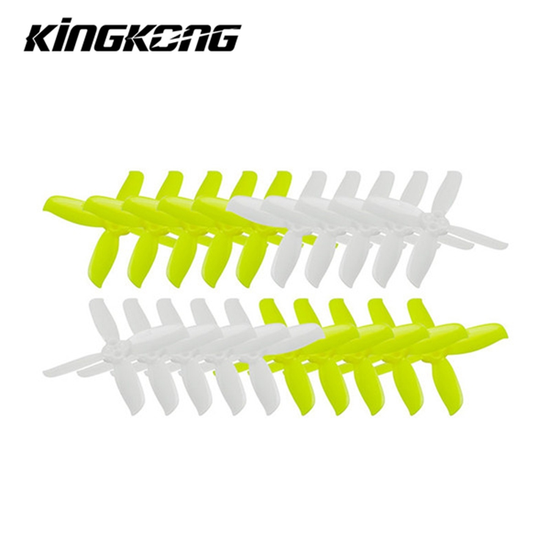 10 Pairs KINGKONG LDARC 2035 / 2045 / 3045 / 2535 / 1535 3-blade Propeller CW CCW 1.5mm Mounting hole Bright Green and White 10 pairs kingkong 40mm 3 blade propeller white